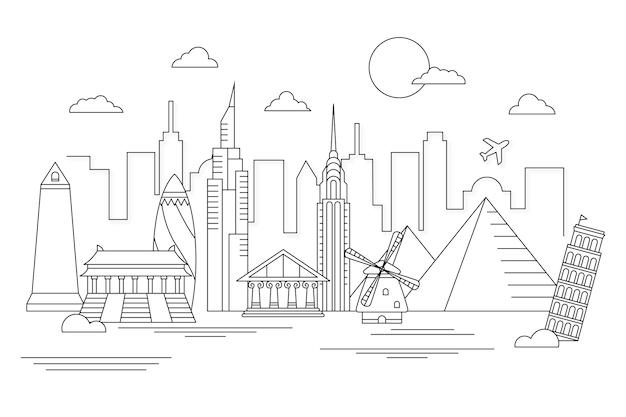 Umriss sehenswürdigkeiten skyline design