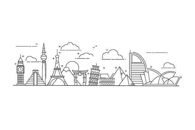 Umriss sehenswürdigkeiten skyline-konzept