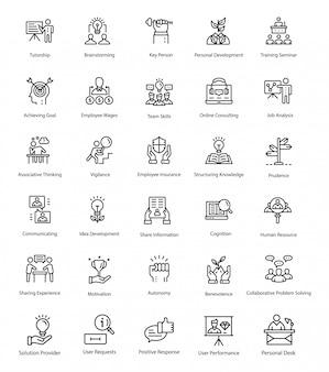 Umriss-vektor-icons der personalabteilung