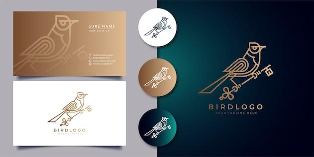 Umriss-vogel-logo, das einen schlüssel mit visitenkarte hält