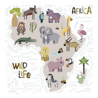 Umriss von afrika und tieren