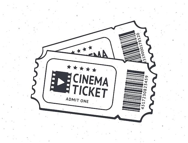 Umriss von zwei kinokarten paar retro-gutscheine aus papier für den filmeintritt vektor-illustration