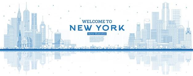 Umriss willkommen in der skyline von new york usa mit blauen gebäuden und reflexionen