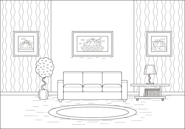 Umriss zimmer interieur in flachem design. illustration.