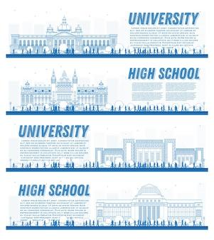 Umrisse von studienbannern auf dem universitätscampus. vektor-illustration. studenten gehen zum hauptgebäude der universität. banner mit textfreiraum.