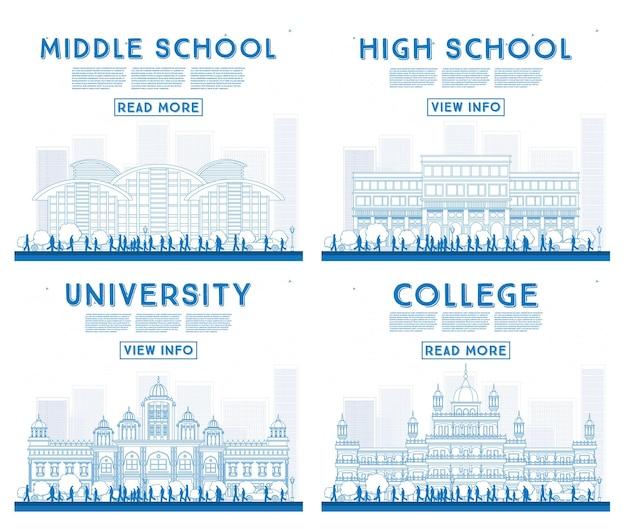 Umrisse von universitäts-, high school- und college-studienbannern. vektor-illustration. studenten gehen zum hauptgebäude der universität. banner mit textfreiraum.
