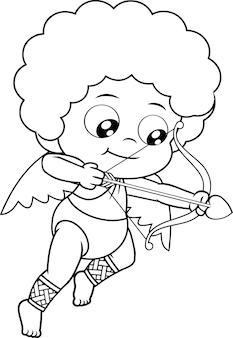 Umrissene baby cupid cartoon figur, die herzpfeile schießt. illustration isoliert auf transparentem hintergrund