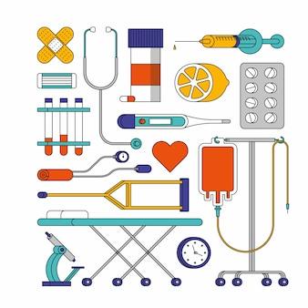 Umrissillustration des krankenhauses. medizinischer symbolsatz, weißer hintergrund