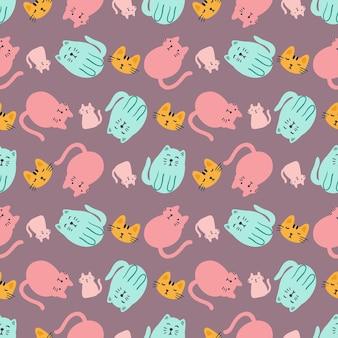 Umrissskizze von katzentieren mit symbolen und designelementen farbe