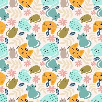 Umrissskizze von katzentieren und blättern mit symbolen und designelementen farbe