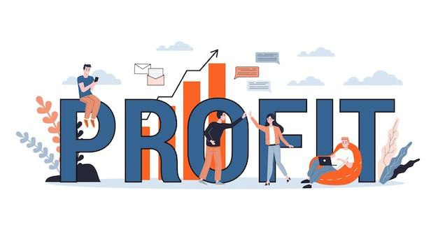 Umsatz steigern. idee des kapitalwachstums und der finanzierung von investitionen. geschäftsgewinn. illustration