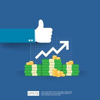 Umsatzgewinnwachstum mit daumen hoch geste. erhöhung des einkommensgehalts. finanzierungsleistung des return on investment roi-konzepts mit pfeil. dollar symbol flachen stil
