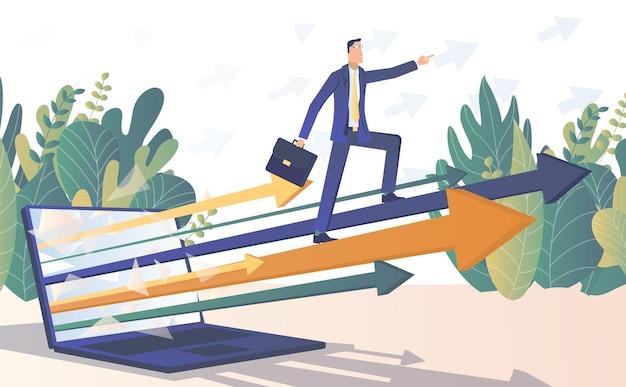 Umsatzwachstum geschäftsmann steigt im umsatzwachstumsdiagramm vom laptop aus