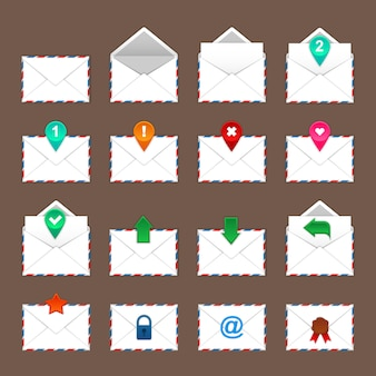 Umschläge icons set