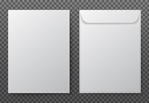 Umschlag a4. weiße briefumschläge aus weißem papier für vertikales dokument