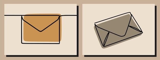 Umschlag einzeiliges kunstset mit durchgehenden linien