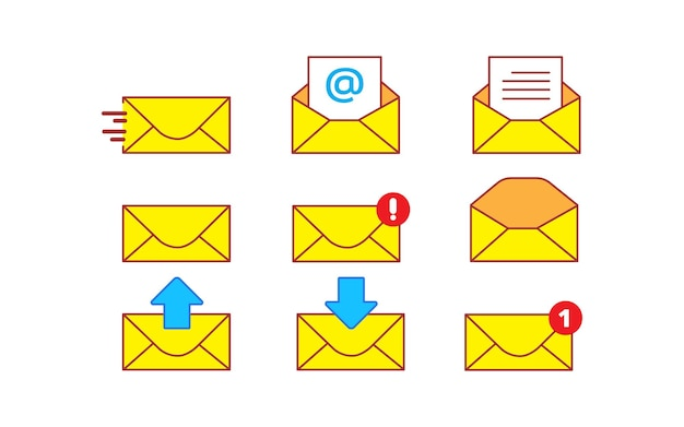 Umschlag gelbe mail icon set vektor-cartoon-kunst-illustration