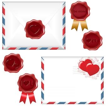 Umschlag mit einem wachssiegel, auf weißem hintergrund, illustration