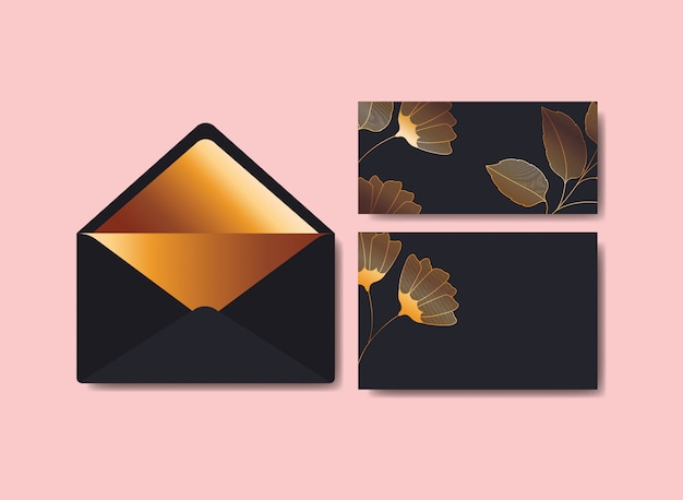 Umschlag mit einladung und blumendekoration