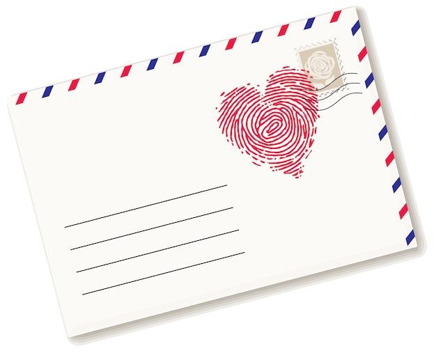 Umschlag mit fingerabdruck in herzform