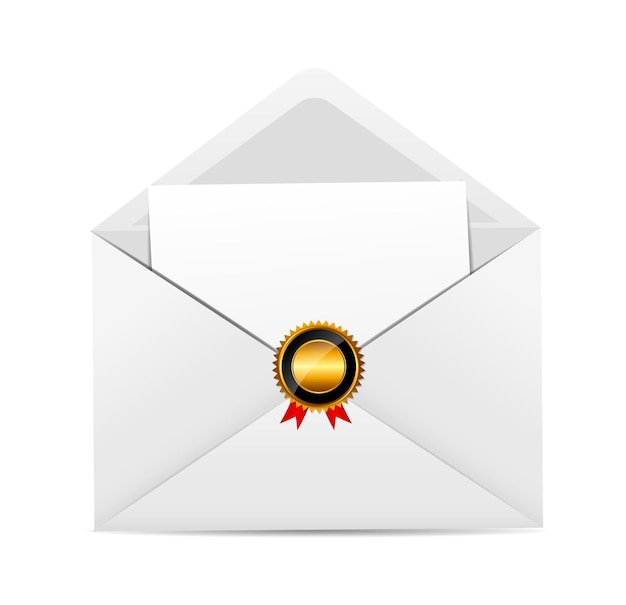 Umschlag mit goldener stempel-vektor-illustration