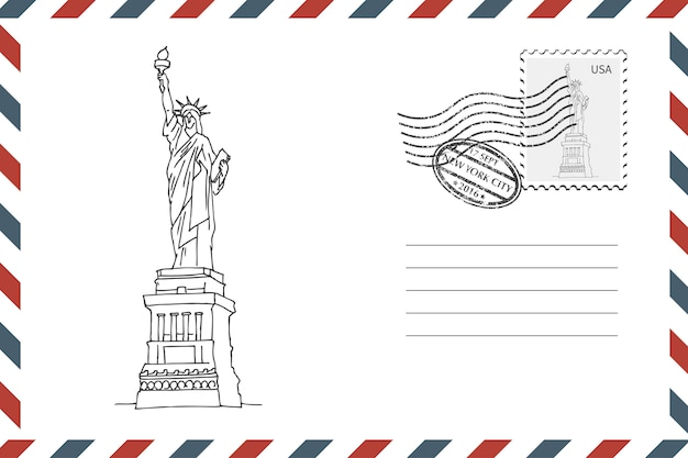 Umschlag mit handgezeichneten freiheitsstatue