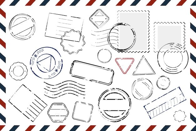 Umschlag mit leerer briefmarken zusammensetzung