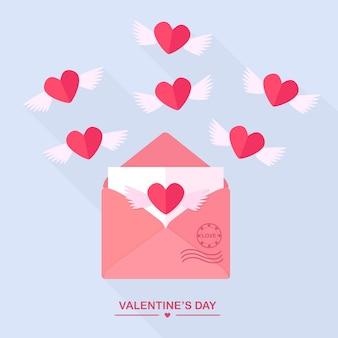 Umschlag mit liebesbotschaft, offener brief mit fliegenden herzen. fröhlichen valentinstag