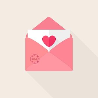 Umschlag mit liebesbotschaft, offener brief mit herz. fröhlichen valentinstag