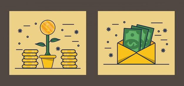 Umschlag mit rechnungen geld dollar und münzen pflanze