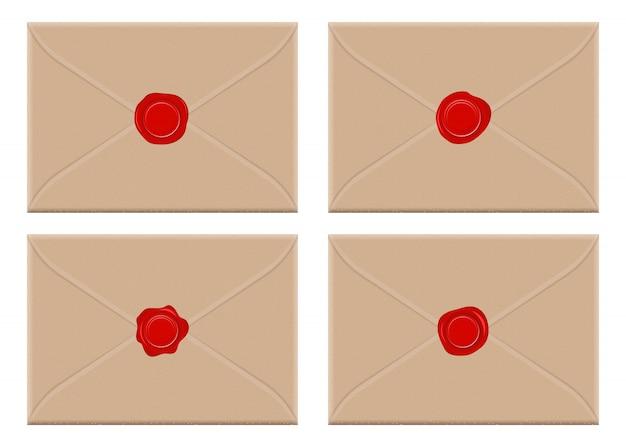 Umschlag mit roter wachssiegel-entwurfsillustration lokalisiert auf weißem hintergrund