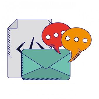 Umschlag mit sprechblasen und blauen codezeilen