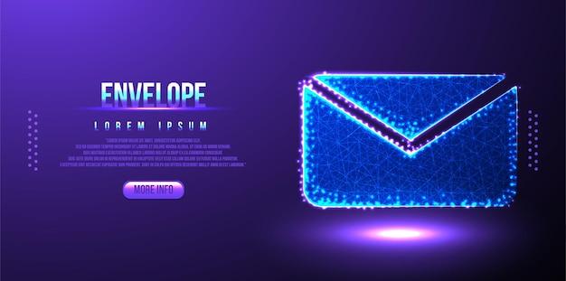 Umschlag, nachricht polygonaler low-poly-wireframe-hintergrund