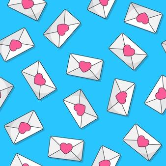 Umschlag nahtloses muster auf einem blauen hintergrund. die briefumschlag-symbol-vektor-illustration