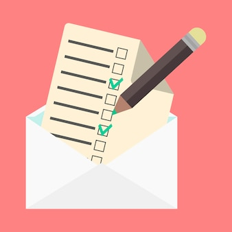 Umschlag und checkliste öffnen