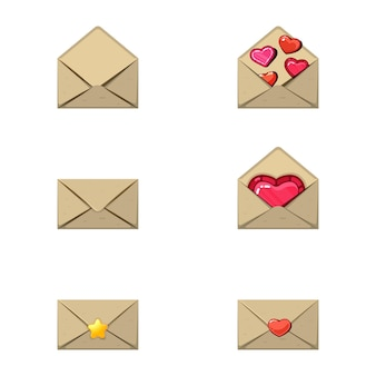 Umschlag und herzstempel. eine liebesbotschaft, ein paar herzen und einen stern leer.