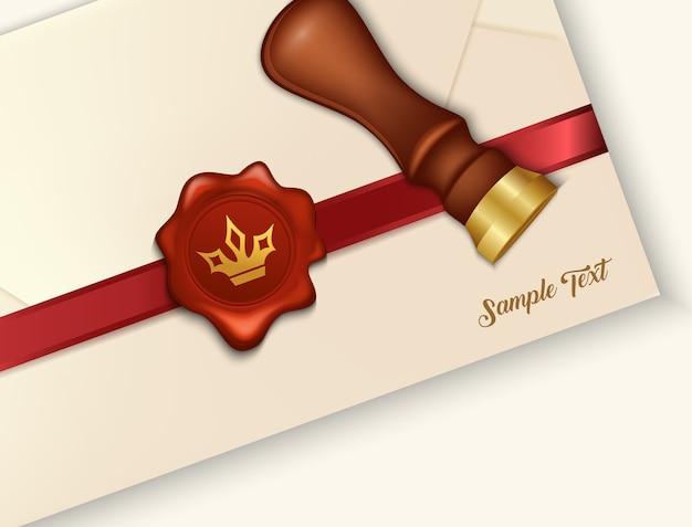 Umschlag und rotes wachssiegel mit wachssiegelstempel