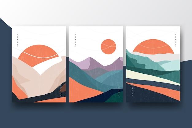 Umschlagsammlung mit minimalistischem japanischem thema