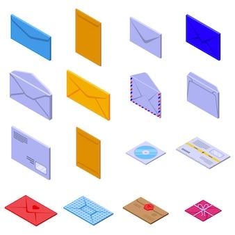 Umschlagsymbole festgelegt. isometrischer satz von umschlagvektorikonen für webdesign lokalisiert auf leerraum
