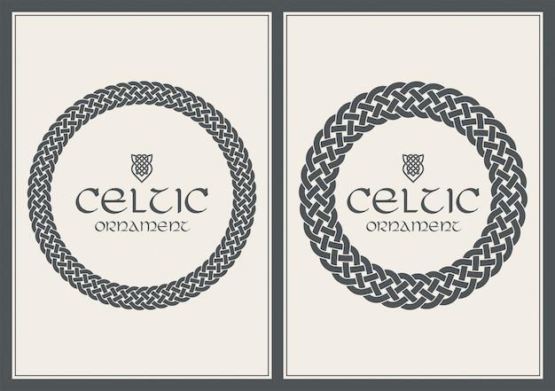Umsponnene rahmengrenzverzierung des keltischen knotens. a4 größe