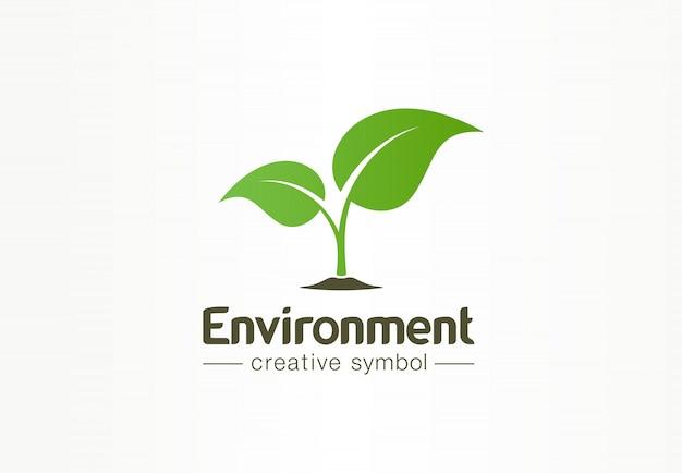 Umwelt, grünes blatt, organisches kreatives symbolkonzept. natürliche biokosmetik, abstrakte geschäftslogoidee der natur. wachstumspflanze öko-symbol.