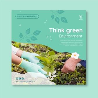 Umwelt karierte flyer-vorlage