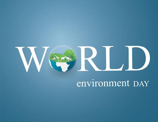 Umwelt- und eco-erde-tageskartenentwurfsschablone tiere