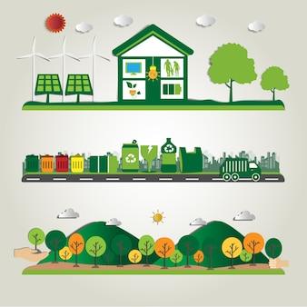 Umwelt- und umweltfreundliche technologien, energieeinsparung, ökologisches recycling.