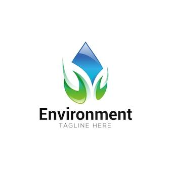 Umwelt-wassertropfen- und -blattlogo