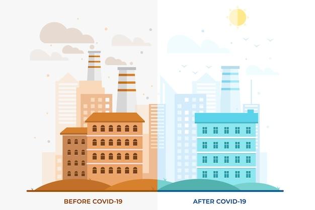 Umweltauswirkungen von coronavirus Premium Vektoren