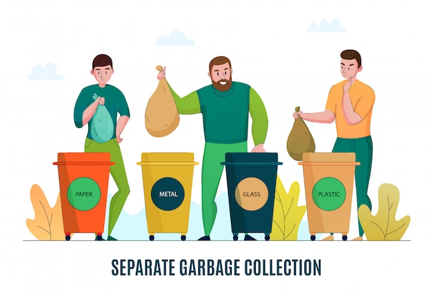 Umweltfreie müllsammelsortierung ohne abfall, die recyclingmaterial trennt und flaches horizontales werbebanner verarbeitet