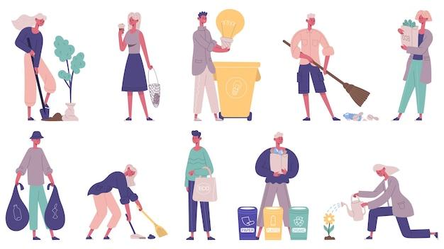 Umweltfreundlich, abfallfrei, freiwillige zum schutz der umwelt. leute, die müll sammeln, abfallvektorillustrationssatz sortieren. umweltschutz menschen