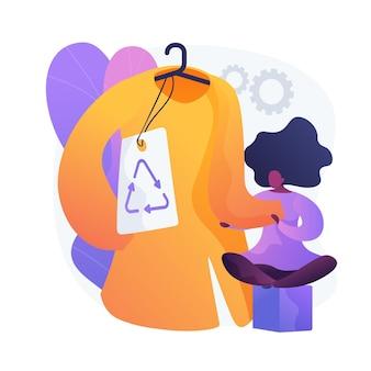 Umweltfreundliche bekleidungsmarke. recycling-tag, kunststofffreie kleidung, ökologisches kleidungsstück. weibliche mode. frau, die natürliche materielle kleidung kauft.
