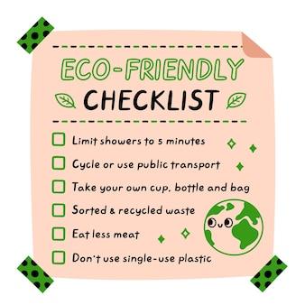 Umweltfreundliche checkliste, checklistenaufkleber für ökologietipps, karte, posterkonzept
